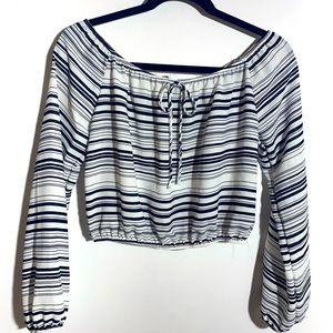 Black White striped Off shoulder Crop Top